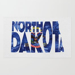 North Dakota Typographic Flag Map Art Rug