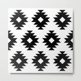 Southwestern Pattern 822 Black and White Metal Print