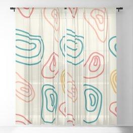 Circular Lines Abstract Shapes Pattern Sheer Curtain