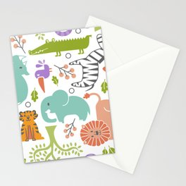 Zoo Pattern in Soft Colors Stationery Cards