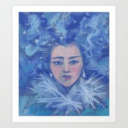 Snowgirl, Christmas &  New Year Art Print