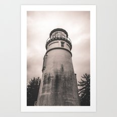 Ocean Beach Black and White Light House - Umqua Light House Art Print