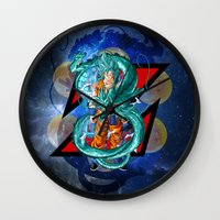dbz Wall Clocks featuring DBZ - Goku Super Saiyan God by Mr. Stonebanks