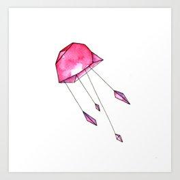 Geometric jellyfish Art Print