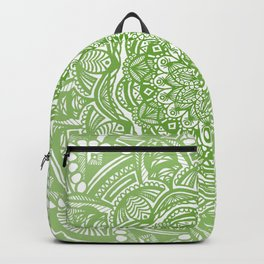 Olive Lime Green Mandala Detailed Ethnic Tribal Pattern Backpack