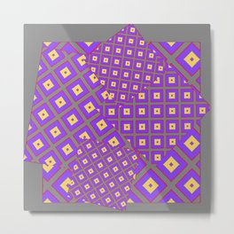 GREY PURPLE CREAM MODERN SQUARES ART Metal Print