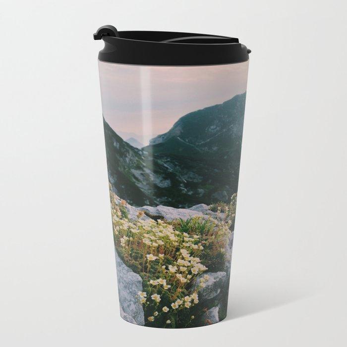 Mountain flowers at sunrise Metal Travel Mug