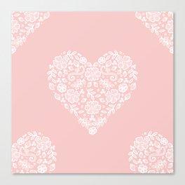 Millennial Pink Blush Rose Quartz Hearts Lace Flowers Pattern Canvas Print