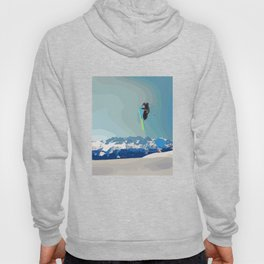 Man on skis, sky jumping, with mountains and blue sky on the backgound Hoody