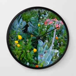 Succulents & Flowers Wall Clock
