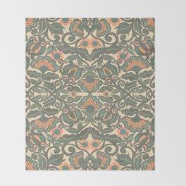 Green Vines Folk Art Flowers Pattern Throw Blanket