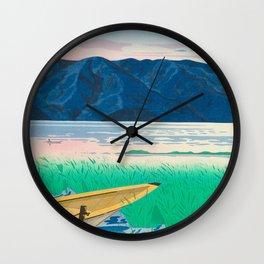 Tokuriki Tomikichiro Rice Field Lake Japan Japanese Woodblock Print Wall Clock