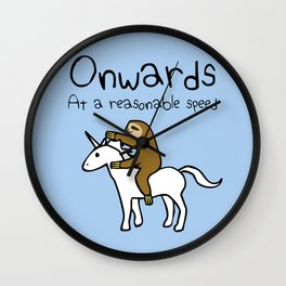 Onwards! At A Reasonable Speed (Sloth Riding Unicorn) Wall Clock