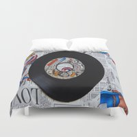 superheroes Duvet Covers featuring superheroes are normal people by Kiki collagist
