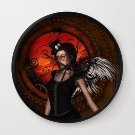 Wonderful steampunk lady with wings and hat Wall Clock