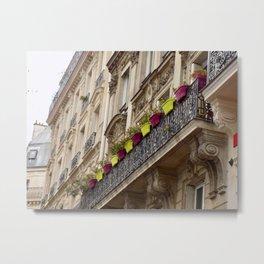 Paris side street downtown flower pots Metal Print