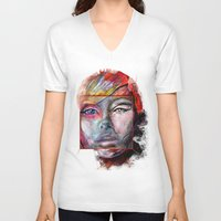 mirror V-neck T-shirts featuring mirror by Irmak Akcadogan