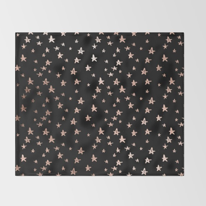Black & Rose Gold Star Pattern Throw Blanket