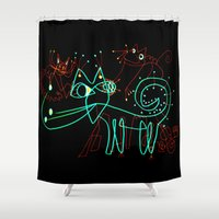 kittens Shower Curtains featuring NEON KITTENS by Vanja Cankovic
