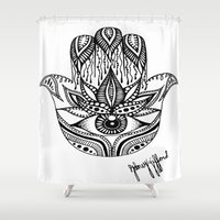 hamsa Shower Curtains featuring Hamsa by Sydney Gifford