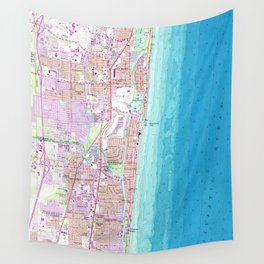Vintage Map of Boca Raton Florida (1962) Wall Tapestry