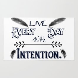 Live Every Day with Intention Feathers A350 Rug