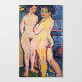Nudes Standing by Stove by Ernst Ludwig Kirchner, 1908 Canvas Print
