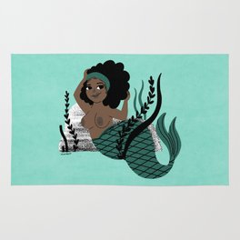 Black and Beautiful Mermaid Rug