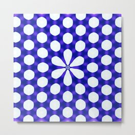 Shiny Polka Dots with Flower Blue Metal Print