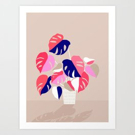 Monstera Deliciosa Plant in blue and pink Art Print