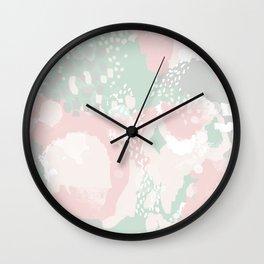 Alexei - abstract minimal modern painting splash dots stripes painterly art Wall Clock