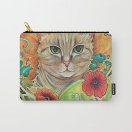 Art Nouveau Cat with poppy flowers Carry-All Pouch