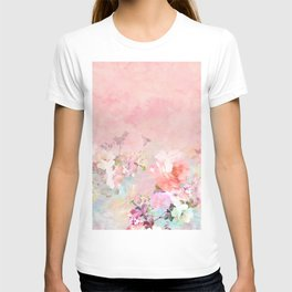 Modern blush watercolor ombre floral watercolor pattern T-shirt