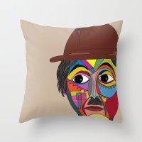 charlie chaplin Throw Pillows featuring Charlie Chaplin by JeeArt