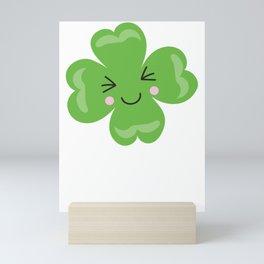 Kids St Patricks Day Kawaii Shamrock Smiling Shamrock Mini Art Print