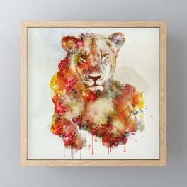 Resting Lioness Watercolor Painting Framed Mini Art Print