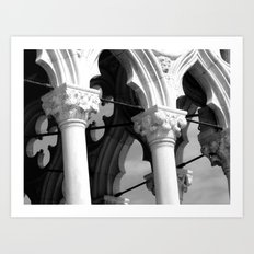 Flower details and arches of the Doges Palace Art Print