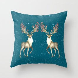 Deers With Birds Teal #society6 #buyart Throw Pillow