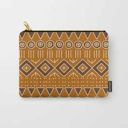 Mudcloth Style 2 in Burnt Orange and Brown Carry-All Pouch