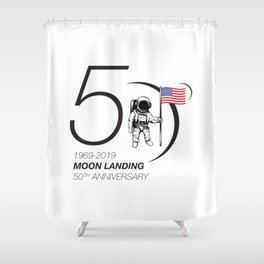 Moon landing 50th year anniversary Shower Curtain