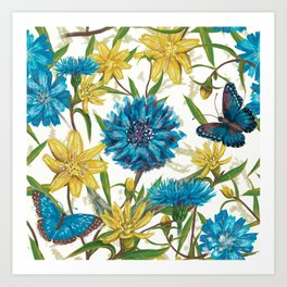Seamless floral pattern with flowers and butterfly Art Print