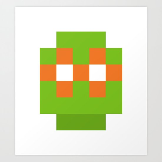hero pixel green orange Art Print