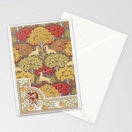 Cerfs et arbres, papier peint Ecureuil oiseaux et sorbier, bordure from L'animal dans la decoration Stationery Cards