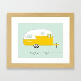 Yellow Happy Camper Framed Art Print