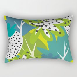 White strawberries and green leaves Rectangular Pillow