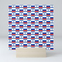 Mix of flag: israel and Russia Mini Art Print