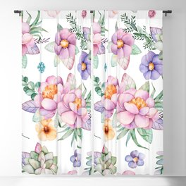 Pastel pink lavender green watercolor hand painted floral Blackout Curtain