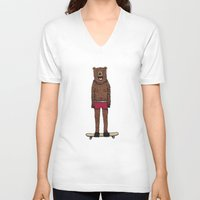 skateboard V-neck T-shirts featuring Bear + Skateboard by Lara Trimming