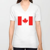 canada V-neck T-shirts featuring Canada by McGrathDesigns