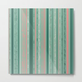 Pink and Teal Dotted Stripes Metal Print